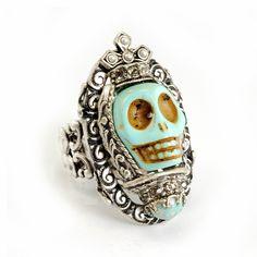 Turquoise SKULL QUEEN Ring SWEET ROMANCE Ollipop Ring SKULL Day of the DEAD
