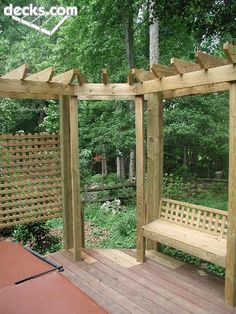 Triangular Cedar Pergola with slated Privacy Wall Patio Pergola, Cedar Pergola, Garage Pergola, Pergola With Roof, Wooden Pergola, Pergola Shade, Pergola Kits, Wire And Wood Fence, Bali Blinds