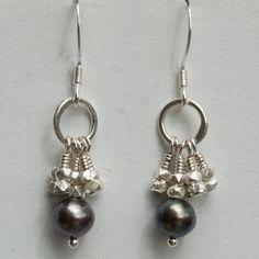 Dark Grey Pearl Earrings