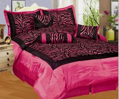 pink+cheetah+print+bed+set+pictures | PC Zebra Flocking Black Pink Comforter Set Queen Size Bed in a Bag
