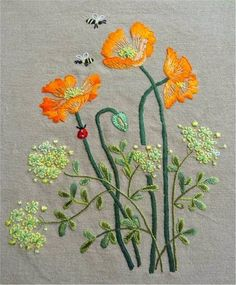 Wonderful Ribbon Embroidery Flowers by Hand Ideas. Enchanting Ribbon Embroidery Flowers by Hand Ideas. Herb Embroidery, Hardanger Embroidery, Japanese Embroidery, Hand Embroidery Stitches, Silk Ribbon Embroidery, Hand Embroidery Designs, Embroidery Techniques, Cross Stitch Embroidery, Machine Embroidery