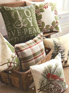 Wonderful Xmas pillows once available from Pottery Barn.