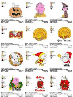 Snoopy Peanuts Holidays Thanksgiving Christmas Halloween Embroidery Machine Designs Set 4X4  Cute Collection - Set of 27  Instant Download: PES