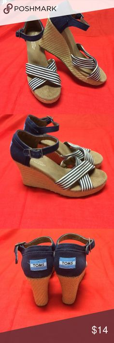 TOMS Wedges SZ 7 Very good condition, navy and cream wedges. TOMS Shoes Wedges
