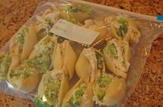 Chicken and Broccoli Stuffed Shells with Alfredo Sauce freezer meal Don't forget to cover with foil, and I think 30 minutes is a good cook time next time. Also I put 5 frozen chicken thighs in the crock pot in the morning and shredded that evening instead of chicken breasts.