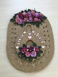 This Pin was discovered by Nag Hobbies And Crafts, Diy And Crafts, Arts And Crafts, Jute, Rope Crafts, Burlap Table Runners, Burlap Fabric, Ribbon Work, Cutwork