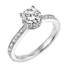 Diamond engagement ring with round center stone, pave diamonds under setting, and diamond enhanced band. Style: Jeanine #ArtCarvedBridal #yatesjewelers
