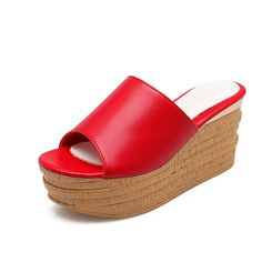 Lucksender Womens Wedge Heels Platform Open Toe Fashion Slippers ** Wow! I love this. Check it out now! : Women's Shoes