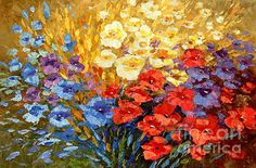 Curiously Creative, palette knife flower painting by Tatiana iliina