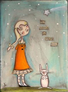 PRINT Of my original folk art painting - She Believed in Wishing Stars - Duda Daze. $10.00, via Etsy.