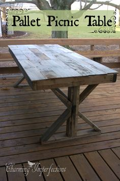 Huge and beautiful DIY Pallet Picnic table made for the cost of screws. Best way to go if you have a little skill with power tools and a lot of pallets. Pallet Crates, Wood Pallets, Pallet Bar, Pallet Furniture, Furniture Projects, Furniture Plans, System Furniture, Furniture Chairs, Outdoor Furniture