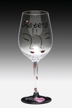 Sisters Handpainted Wine Glass.  complete with tube zebra printed box