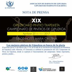 Mañana Jueves 16, presentación en Asociación de Empresarios de Hostelería de Gipuzkoa del Campeonato de Pintxos de Gipuzkoa, organizada por la Asociación de Barmans. Toda la info, pinchando sobre la imagen.