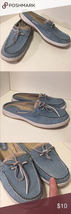 Sperry Top-Slider light blue leather slip on shoes This is a pair of very light blue leather slip on shoes, accent bowfront, white stitching white siding rubber non-marking soles.  Good condition, some where, visible on siding, small faint spot on front. See pictures for details. Be sure and check out other items in closet and bundle to receive discounts. Sperry Top-Sider Shoes Flats & Loafers