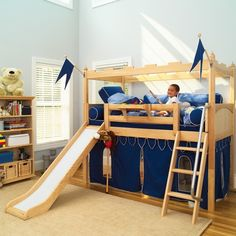 """Every Knight deserves his Castle! Get your Knight our """"CAMELOT 7"""" Castle Loft complete with a slide and curtains just in time for the Holidays."""