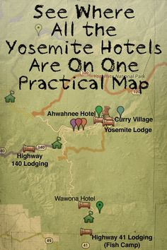 This Yosemite map can help you figure out where to stay when you go to Yosemite. It has all the places to stay around the park, all on one map