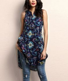 Another great find on #zulily! Navy Paisley Button-Front Sleeveless Tunic #zulilyfinds