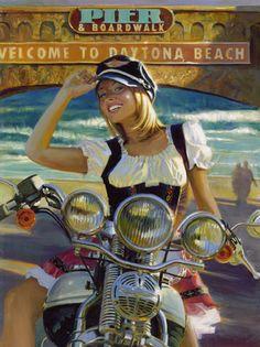Official Website of Fine Artist David Uhl. Collections include motorcycle art, aviation art, automotive art, pin-up art. Motorcycle Posters, Motorcycle Art, Bike Art, Biker Chick, Biker Girl, Vintage Motorcycles, Harley Davidson Motorcycles, Vintage Bicycles, Art Moto