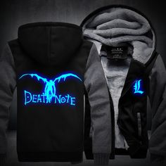 eef6ff8cd USA size New Death Note Luminous Jacket Sweatshirts Thicken Hoodie Coat  Casual Clothing
