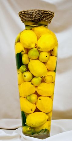Fill A Large Cylinder Container With Lemons And Water Top Flat