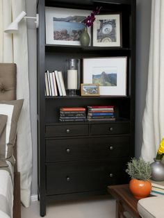 Bedside Storage - Sabrina Soto's Best Designs on HGTV. Close-up view of dresser/bookcase with side-mounted lighting. 7-20-13.