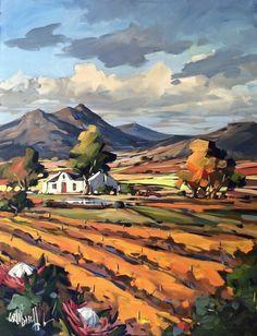 Purchase artwork Fields of Gold, Cape Vineyards - Acrylic Painting by South African Artist Carla Bosch Landscape Art Quilts, Landscape Artwork, Watercolor Landscape, Abstract Landscape, African Artwork, African Art Paintings, South African Artists, Acrylic Art, Matisse