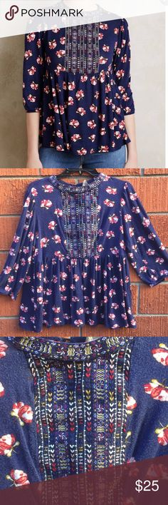 One September by Anthropologie embroidered top👇🏻 Used condition but still adorbs! Slightly faded from wash and missing 1 button on back Anthropologie Tops Blouses
