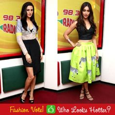 Who do you think is hotter between these 2 tinsel town beauties? 'Like' for Ileana & 'Comment' for Nargis. Fashion Quiz, New Freedom, High Waisted Skirt, Fiber, India, Guys, Hot, Fabric, Skirts