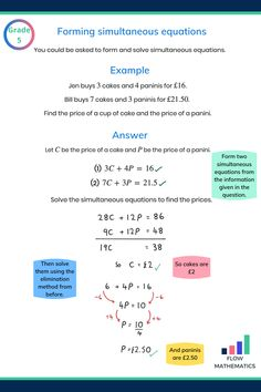 Forming and solving simultaneous equations summary. Add this pin to your board to help revise Algebra Worksheets, Maths Algebra, Gcse Maths Revision, Exam Success, Math Notes, Math Formulas, Solving Equations, School Study Tips, Simple Math