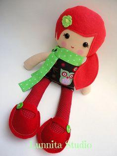 Handmade cloth doll...Eco-Friendly Doll...sweet ragdoll...I love red and green