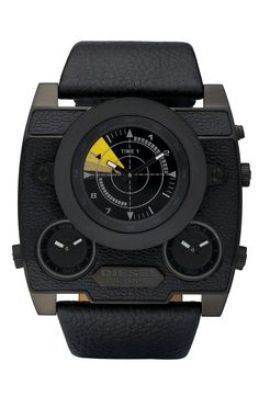 This Diesel SBA Black Out Watch is for those that prefer their watches big, bold, and black. With a unique angled case design and plenty of analog dials, this Diesel Watches For Men, Submariner Watch, Cool Watches, Men's Watches, Wrist Watches, Jewelry Watches, Band, Fashion Watches, Men's Fashion