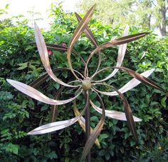 Pure Copper Brass Sculpture Art Dual Leaves Windmill Kinetic Wind Spinner Garden #KandN