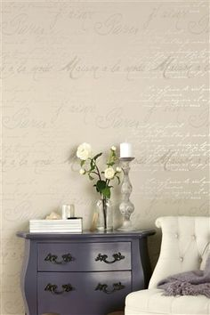 Buy French Script Wallpaper from the Next UK online shop Hallway Wallpaper, Home Wallpaper, Wallpaper Ideas, French Wallpaper, Cream Wallpaper, Cream And White Living Room, Room Inspiration, Design Inspiration, Design Ideas