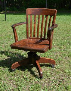 vintage wood oak office chair swivel wheels by panchosporch 19500 antique deco wooden chair swivel