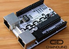 ChainDuino Daisy-Chainable Arduino Board - The ChainDuino is a daisy-chainable, Arduino™ compatible development board that allows you to easily connect multiple boards together with standard Cat5 cable. The boards communicate using built-in RS-485 circuitry, and share power using passive PoE+ over the same Cat5 cable. This project is currently on Kickstarter.   via Geeky Gadgets