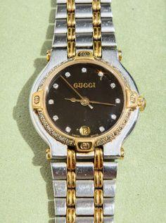 0069ec40a8b Authentic Ladies Gucci Watch 9000L Diamond Markers 2 Tone 18k
