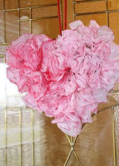 Heart shaped Coffee Filter Wreath.  Coffee filters are dip-dyed in large batches.