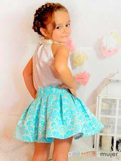 Halter neck blouseMidi Skirt Set for baby babies toddler Little Girl Skirts, Skirts For Kids, Little Girl Outfits, Toddler Girl Dresses, Little Dresses, Toddler Outfits, Kids Outfits, Baby Skirt, Baby Dress