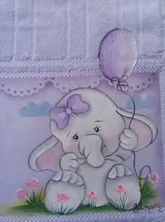 Cartoon Drawings, Animal Drawings, Cute Drawings, Baby Elephant Nursery, Elephant Love, Baby Girl Quilts, Girls Quilts, Baby Painting, Fabric Painting