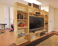 Super DIY wood crate entertainment center for the big game!  Instructions here:  http://bit.ly/1yJI3IK