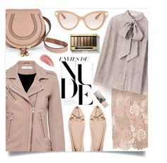 """""""reclining nude"""" by collagette ❤ liked on Polyvore featuring Kate Spade, IRO, Dorothy Perkins, Tory Burch, Chloé, Valentino, Max Factor and Burberry"""