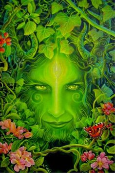Green man - He is a symbol of regeneration representing the spirit  and natural energy present in all growing trees, flowers  plants.