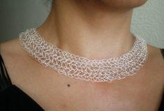 Statement crochet sterling silver necklace ,crochet sterling wire, OOAK, Etsy
