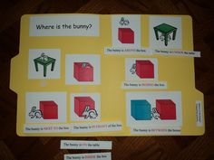 Early Learning with Marta, Eaton and Nathaniel: More preschool file folder games Preposition Activities, Speech Therapy Activities, Easter Activities, Spring Activities, Learning Activities, Teaching Ideas, File Folder Activities, File Folder Games, File Folders