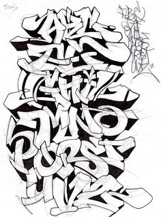 Alphabet #3 Texto Graffiti, Graffiti Art, Graffiti Alphabet Styles, Graffiti Lettering Alphabet, Graffiti Writing, Graffiti Tagging, Graffiti Characters, Graffiti Styles, Grafitti Alphabet