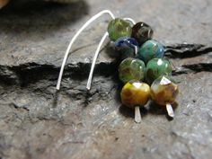 Czech Glass Beads Picasso finish Sterling by Blackberrygardens, $23.00