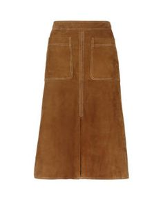 Natural Suede Straight Skirt