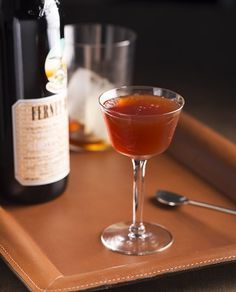 Dare I Say Cocktail - Imbibe Magazine 1 oz. rye whiskey ½ oz. Fernet-Branca ½ oz. sweet vermouth ½ oz. Aperol 2 dashes rhubarb bitters (sub Peychaud's in a pinch) Tools: mixing glass, barspoon, strainer glass: coupe  Combine all ingredients, stir with ice and strain into a chilled glass.