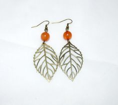 Antique Bronze Leaf Earrings With Orange Bead by SpiritualPathways, $7.00