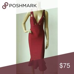 Sexy bandgage dress!As seen on Danieline Moore Beautiful sexy Red Wine Sleevesless v-neck dress!!! Made of Nylon,Rayon,Spandex!! Very strong material!!! Dresses Midi